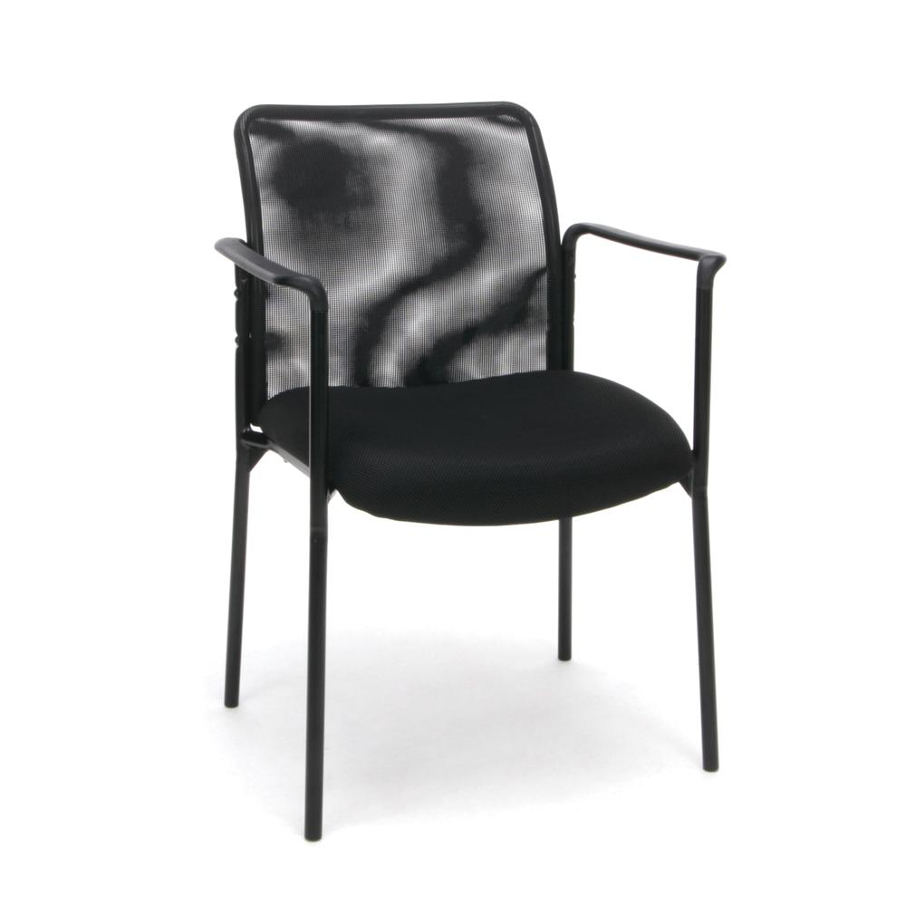 Essentials by OFM ESS-8010 Mesh Back Upholstered Side Chair with Arms, Black. Picture 1