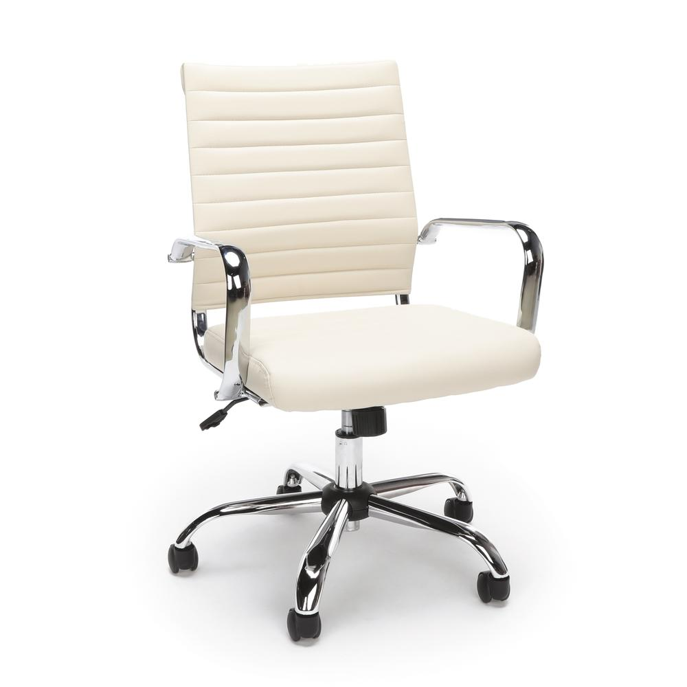 OFM ESS-6095 Soft Ribbed Bonded Leather Conference Chair, Ivory. Picture 1