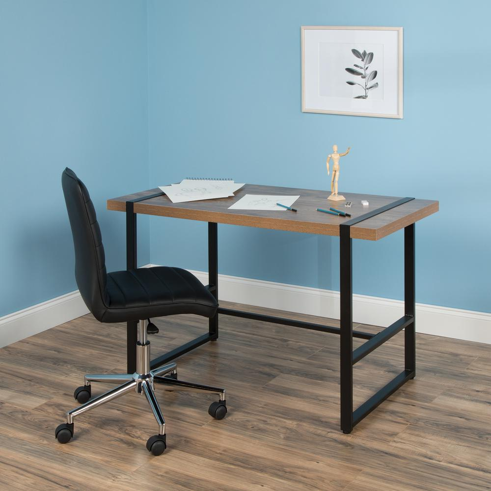 "Modern 48"" Metal O-Frame Computer Desk, in Knotty Oak. Picture 11"