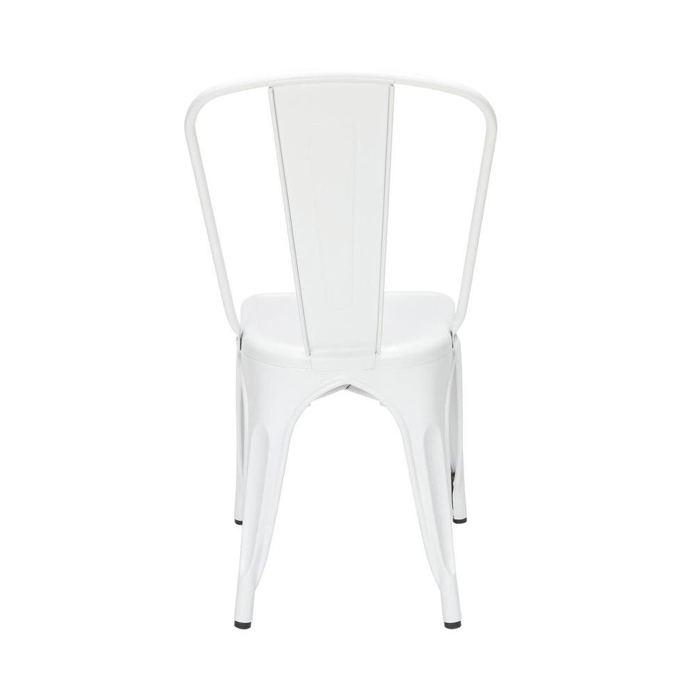 "OFM 161 Collection Industrial Modern 18"" High Back Metal Dining Chairs, 4 Pack, are manufactured with galvanized steel for indoor and outdoor use. These stacking metal chairs come fully assembled and. Picture 3"
