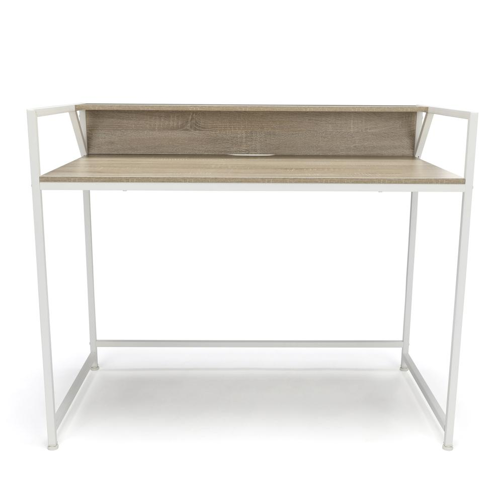 Essentials by OFM ESS-1003 Computer Desk with Shelf, White with Natural. Picture 2