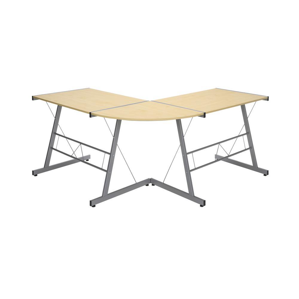 """60"""" Metal Frame L-Shaped Desk, Corner Computer Desk, in Maple. Picture 3"""