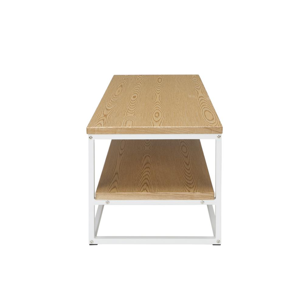 The OFM 161 Collection Industrial Modern Wood Top/Metal Frame Coffee Table with Wood Shelf is the perfect accent piece for any space as it blends easily in living rooms, recreational spaces, lobbies,. Picture 4