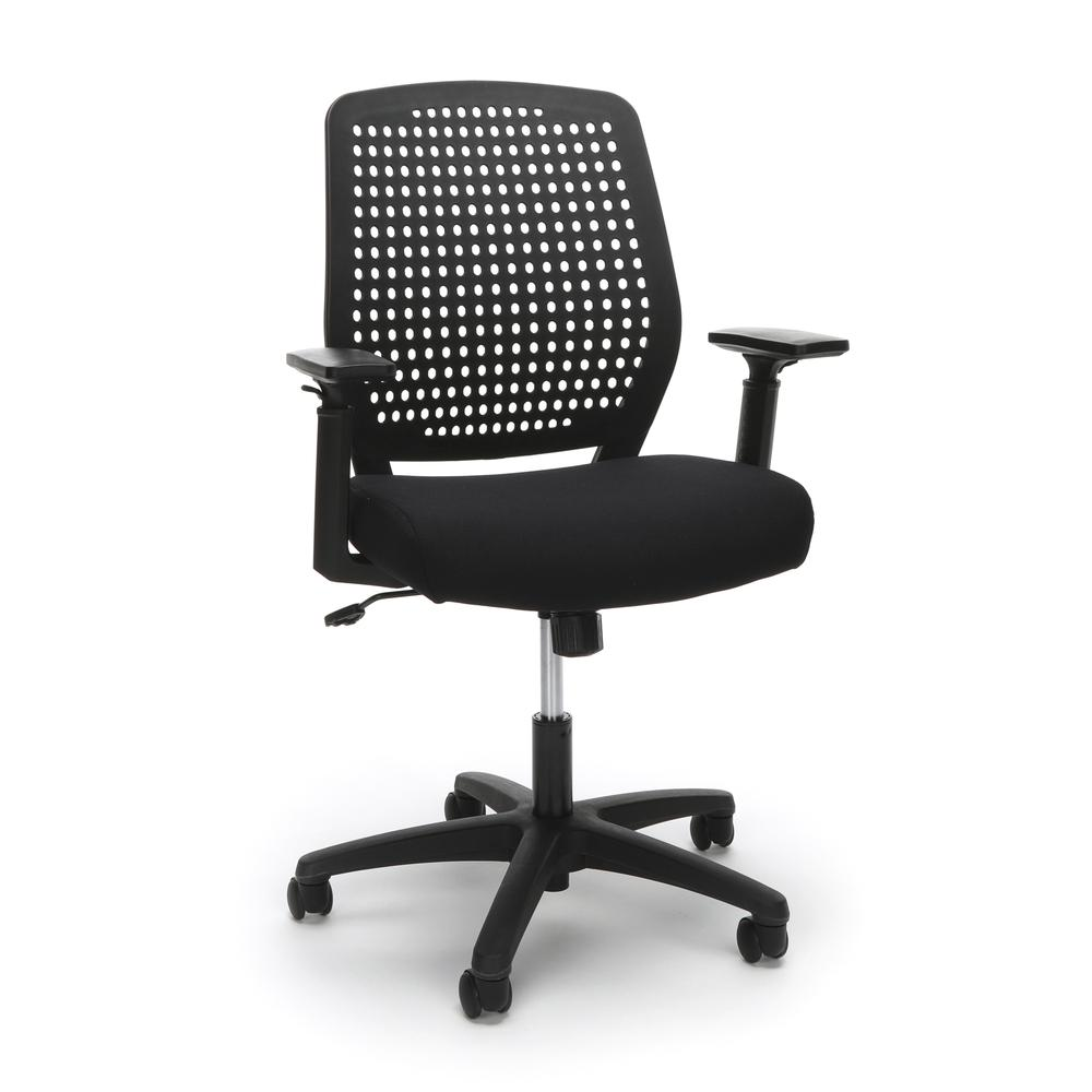 Essentials by OFM ESS-2055 Plastic Back Ergonomic Task Chair, Black with Black. Picture 1