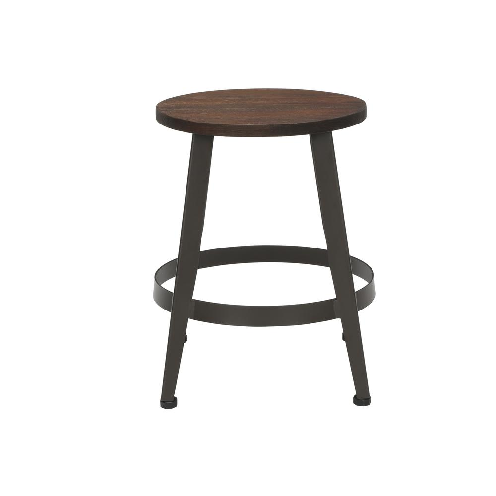 "18"" Table Height Metal Stool, in Walnut. Picture 3"