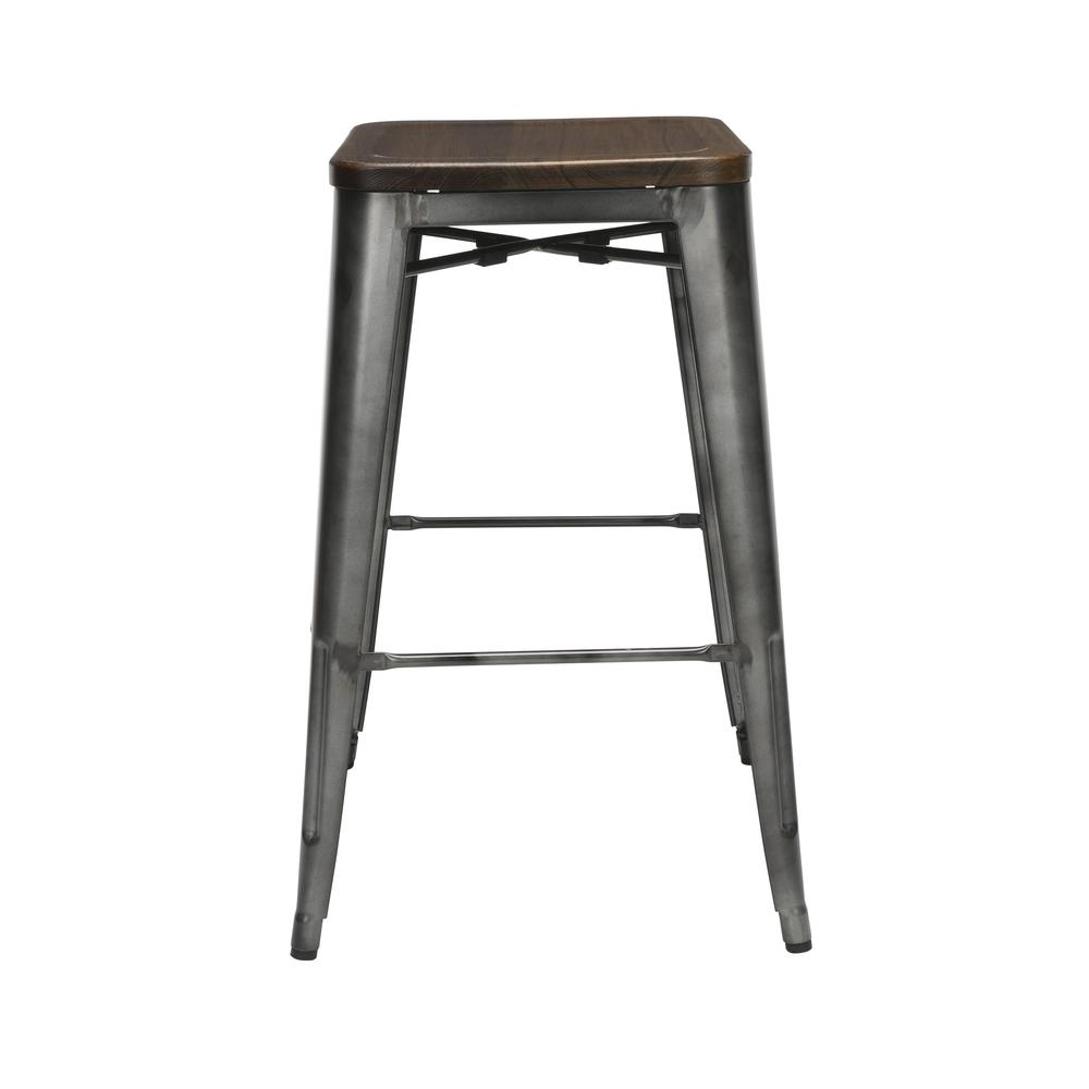 "The OFM 161 Collection Industrial Modern 30"" Backless Metal Bar Stools with Solid Ash Wood Seats, 4 Pack, require no assembly, are stackable, and provide a roomy 15 square inches of seating surface. P. Picture 2"