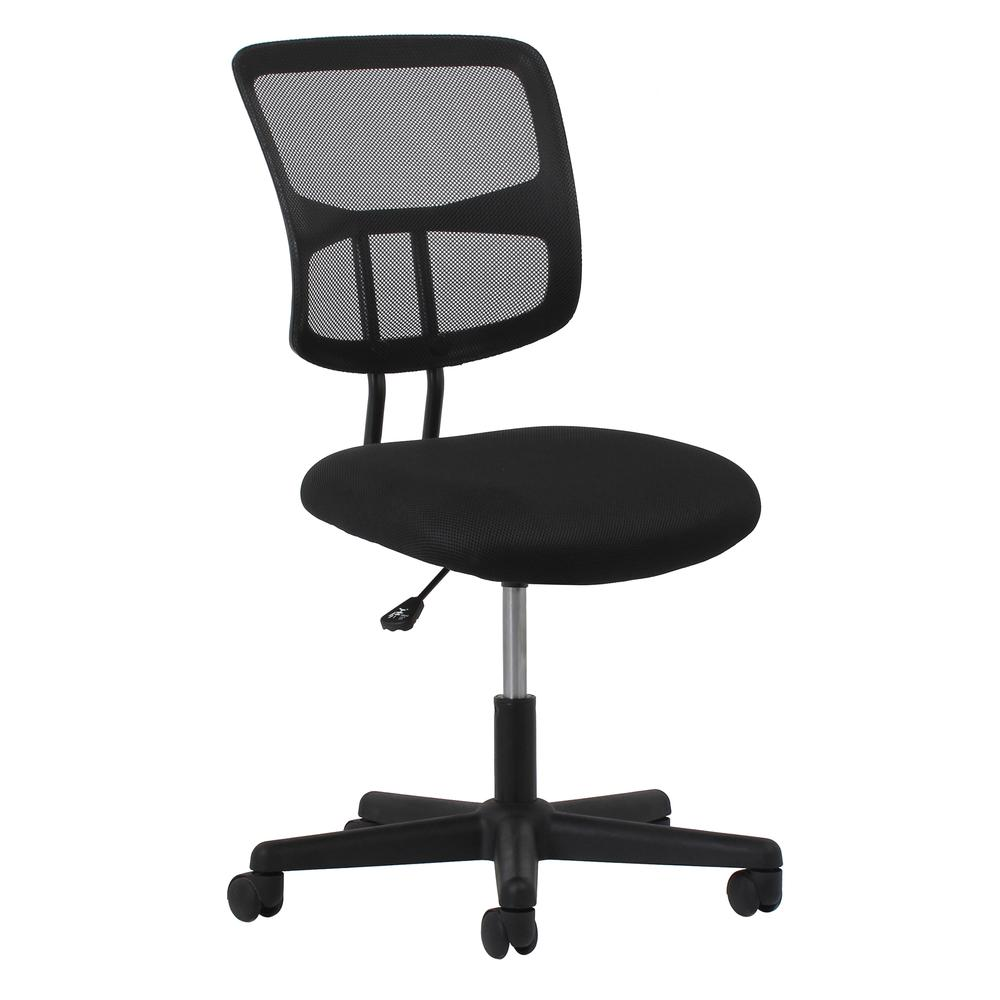 Essentials by OFM ESS-3020 Swivel Mesh Back Armless Task Chair, Black. Picture 1