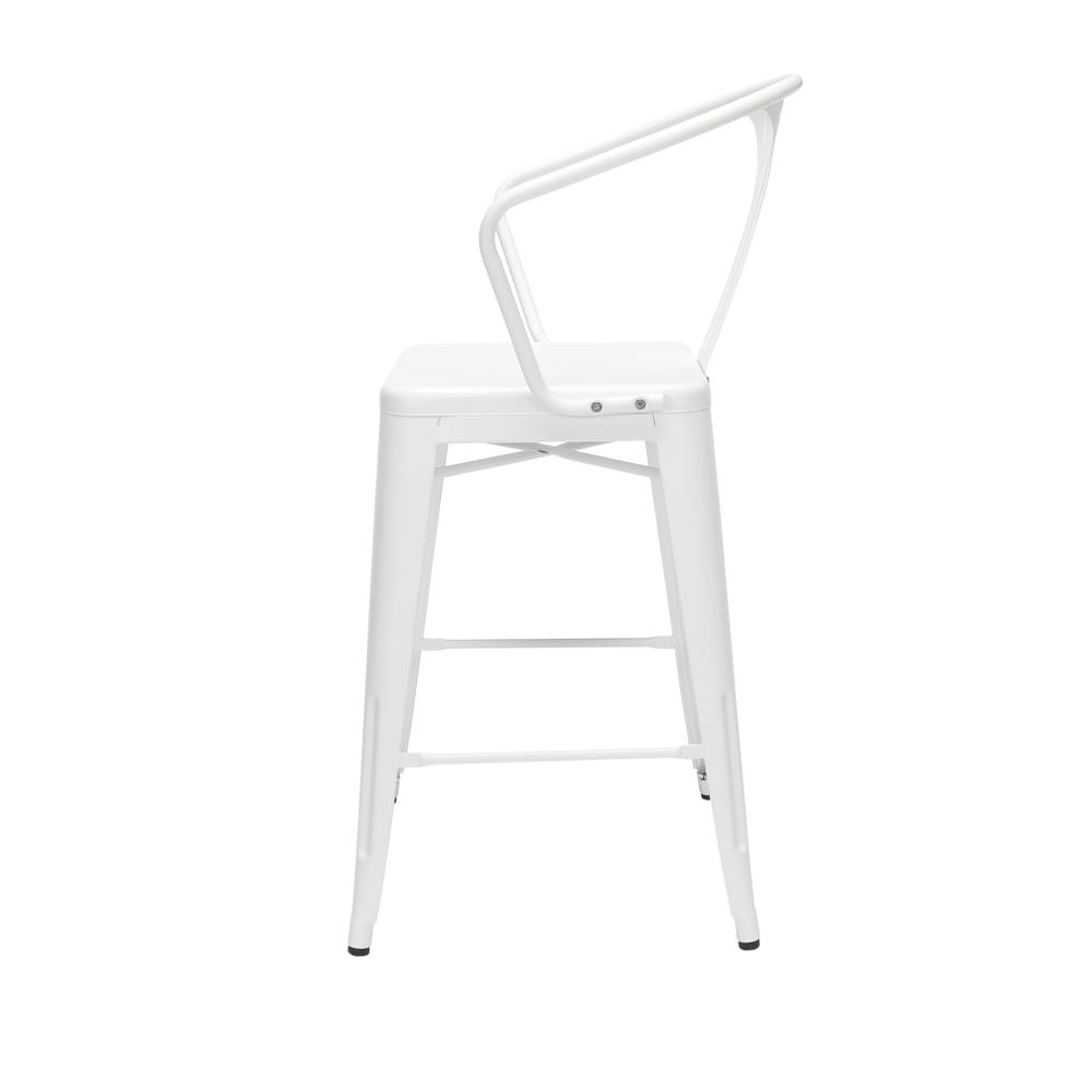 """The OFM 161 Collection Industrial Modern 26"""" Mid Back Metal Arm Chair Stools, 4 Pack, provide a comfortable, yet sophisticated, counter height seating solution for cafe tables and bars, suitable for i. Picture 5"""