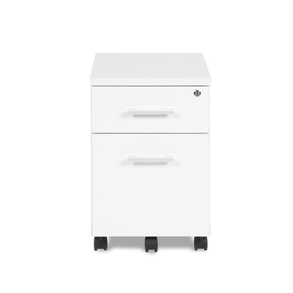 OFM Fulcrum Series Locking Pedestal, Mobile 2-Drawer Filing Cabinet, White (CL-MBF-WHT). Picture 2
