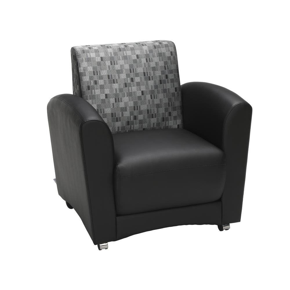 OFM InterPlay Series Single Seat Chair, in Nickel/Black (821-NCKL-PU606NT). Picture 1