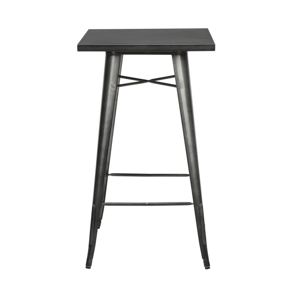 "The OFM 161 Collection Industrial Modern 24"" Square Bar Table with Footring is perfect for indoor or outdoor applications because its galvanized steel is coated in an anti-UV powder that helps prevent. Picture 5"