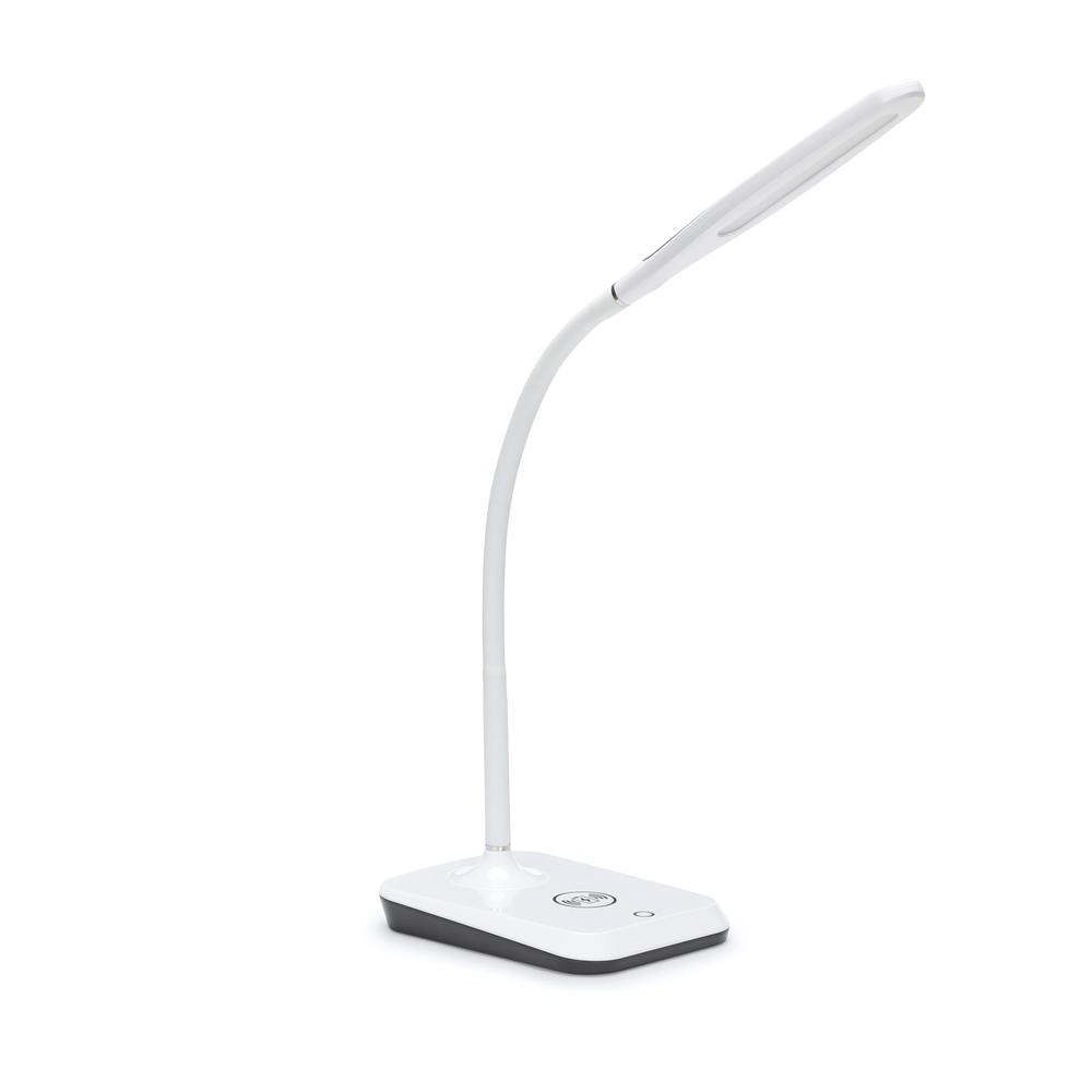 LED Desk Lamp with Touch Activated Switch and Integrated Wireless Charging Station, White. Picture 1