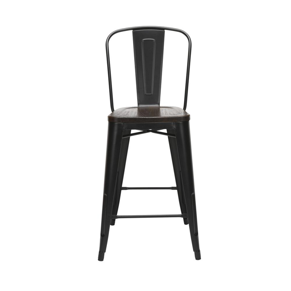 "The OFM 161 Collection Industrial Modern 26"" High Back Metal Stools with Solid Ash Wood Seats, 4 Pack, bring the industrial vibe of a galvanized steel frame and couple it with the inviting warmth of s. Picture 2"
