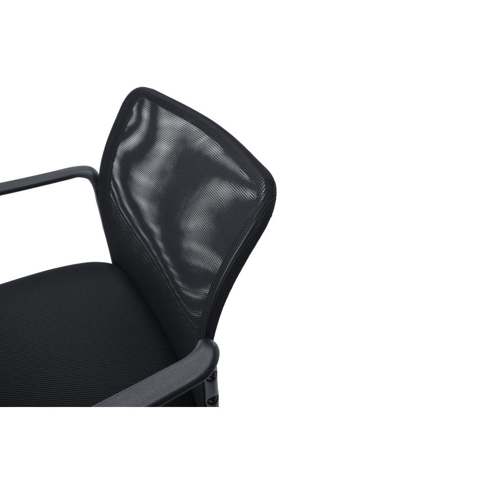 Essentials by OFM ESS-8010 Mesh Back Upholstered Side Chair with Arms, Black. Picture 6
