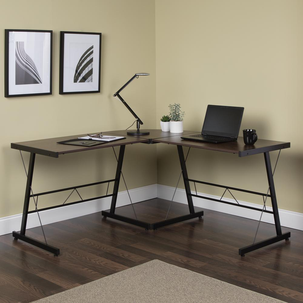 "60"" Metal Frame L-Shaped Desk, Corner Computer Desk, in Wenge. Picture 13"
