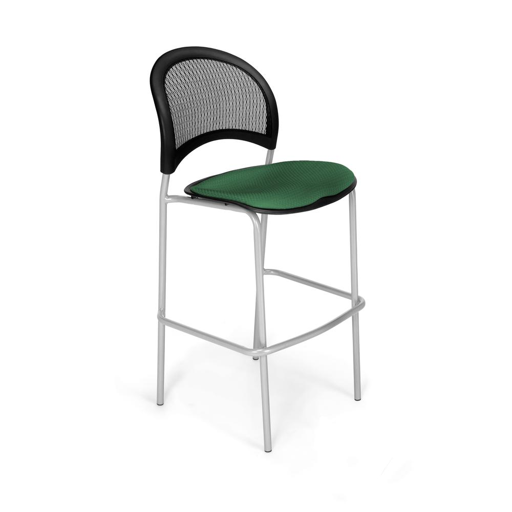 OFM Model 338S Fabric Cafe Height Chair, Green with Silver Base. Picture 1