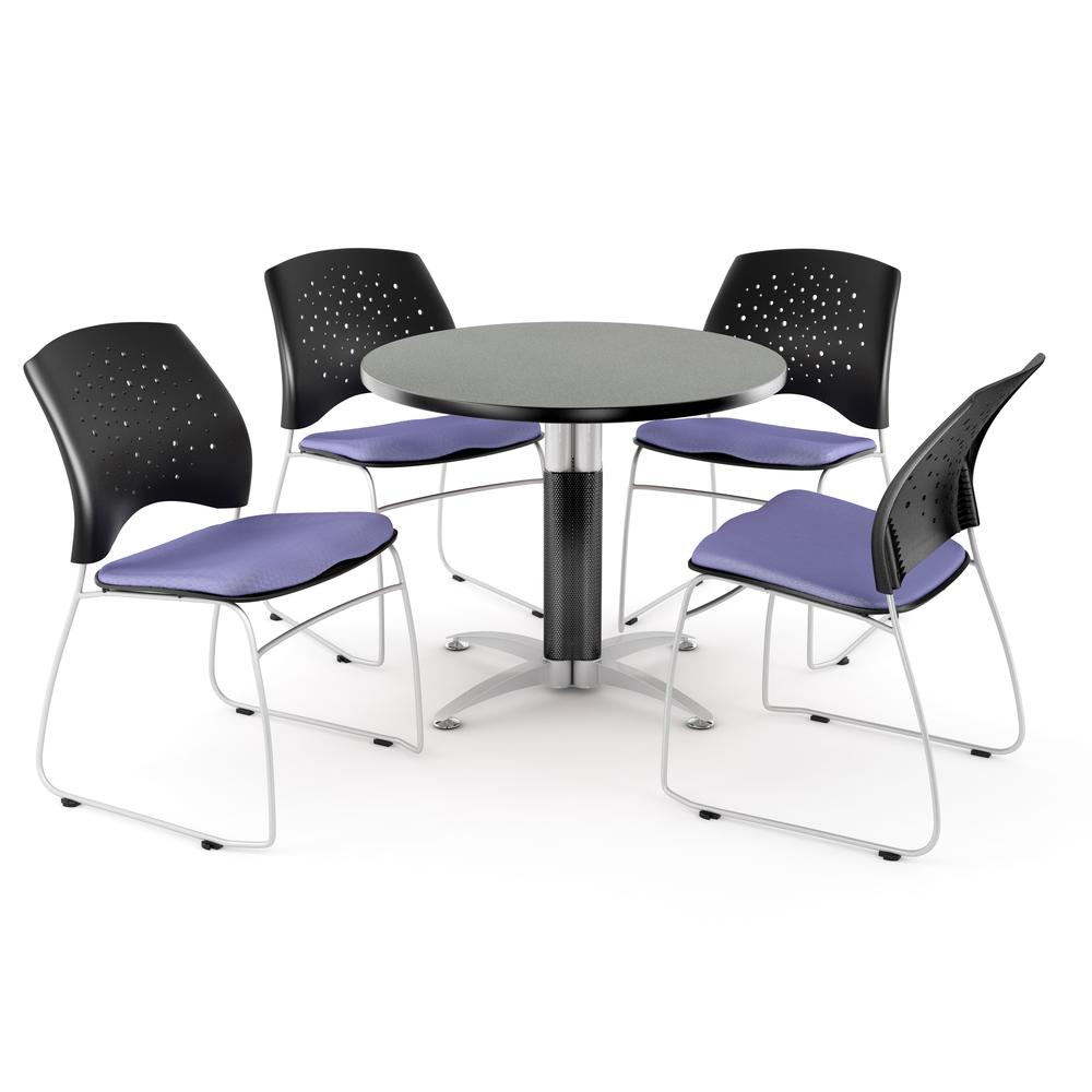 Metal Mesh Base Table in Gray Nebula, 4 Stars Stacking Chairs in Lavender. Picture 1