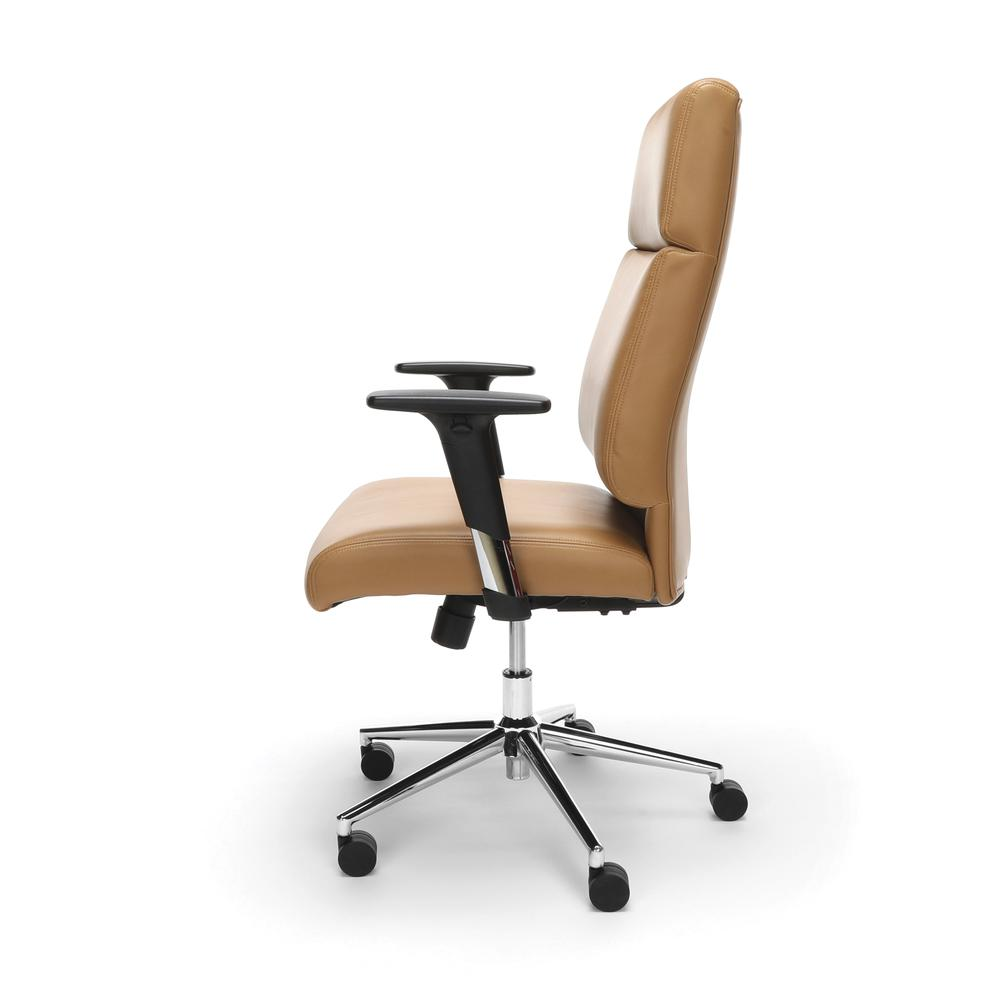 OFM Model 568 High-Back Bonded Leather Manager's Chair, Camel with Chrome Base. Picture 5