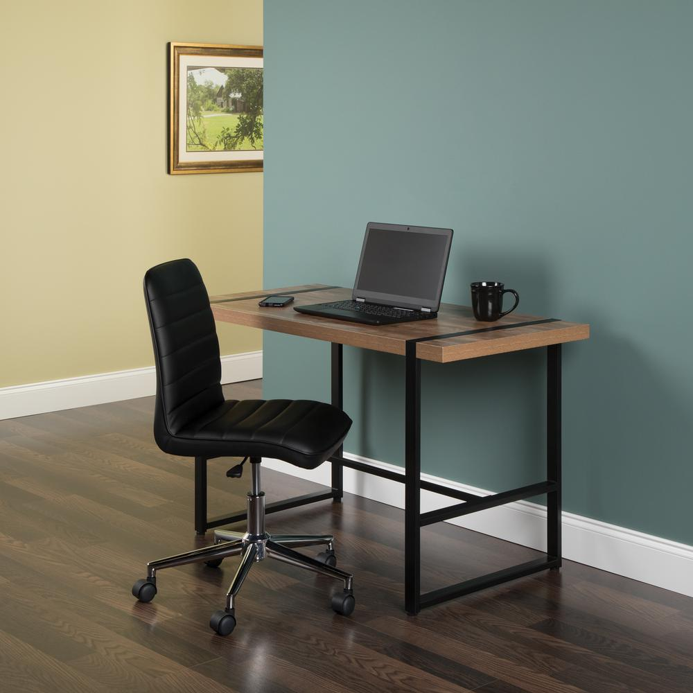 "Modern 48"" Metal O-Frame Computer Desk, in Knotty Oak. Picture 12"