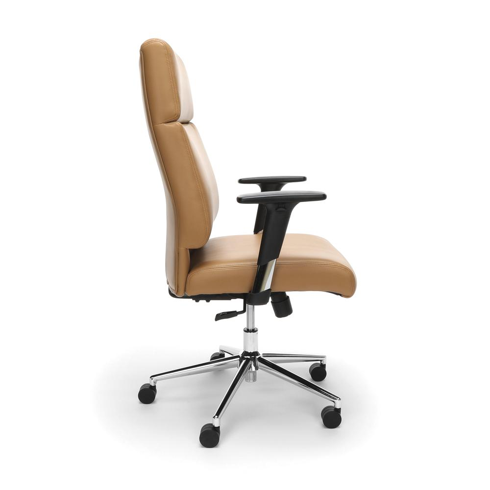 OFM Model 568 High-Back Bonded Leather Manager's Chair, Camel with Chrome Base. Picture 4