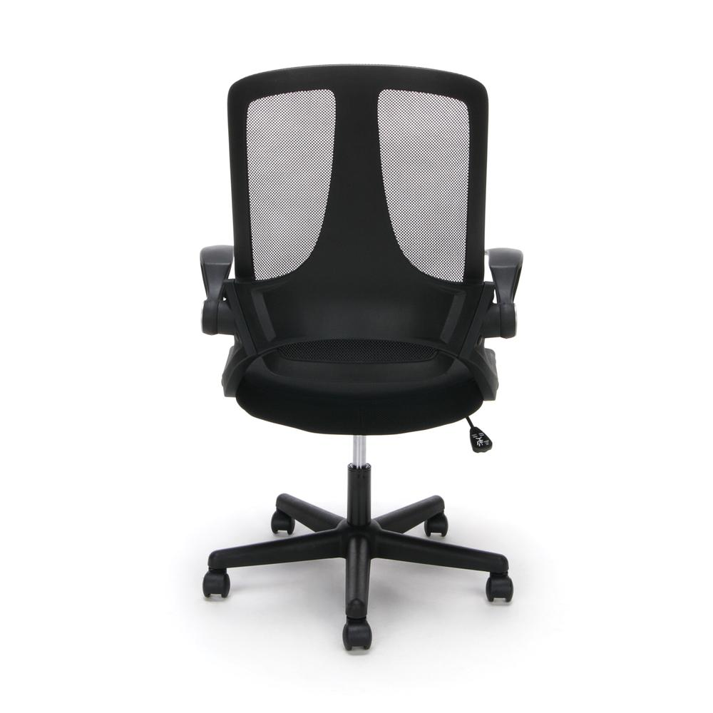 Essentials by OFM ESS-3045 Mesh Upholstered Flip-Arm Task Chair, Black. Picture 3