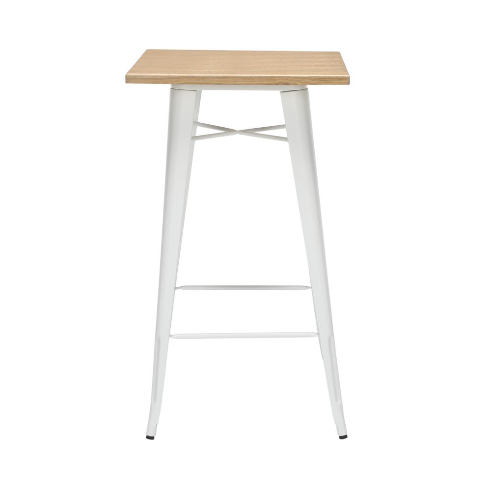 "The OFM 161 Collection Industrial Modern 24"" Square Bar Table with Footring features a galvanized steel frame coupled with a 1"" thick wooden tabletop and completed with a footrest that's positioned 11. Picture 4"