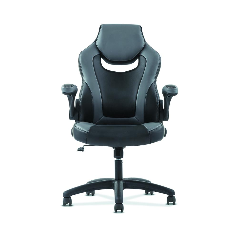 Sadie Racing Gaming Computer Chair- Flip-Up Arms, Black and Gray Leather (HVST911). Picture 4
