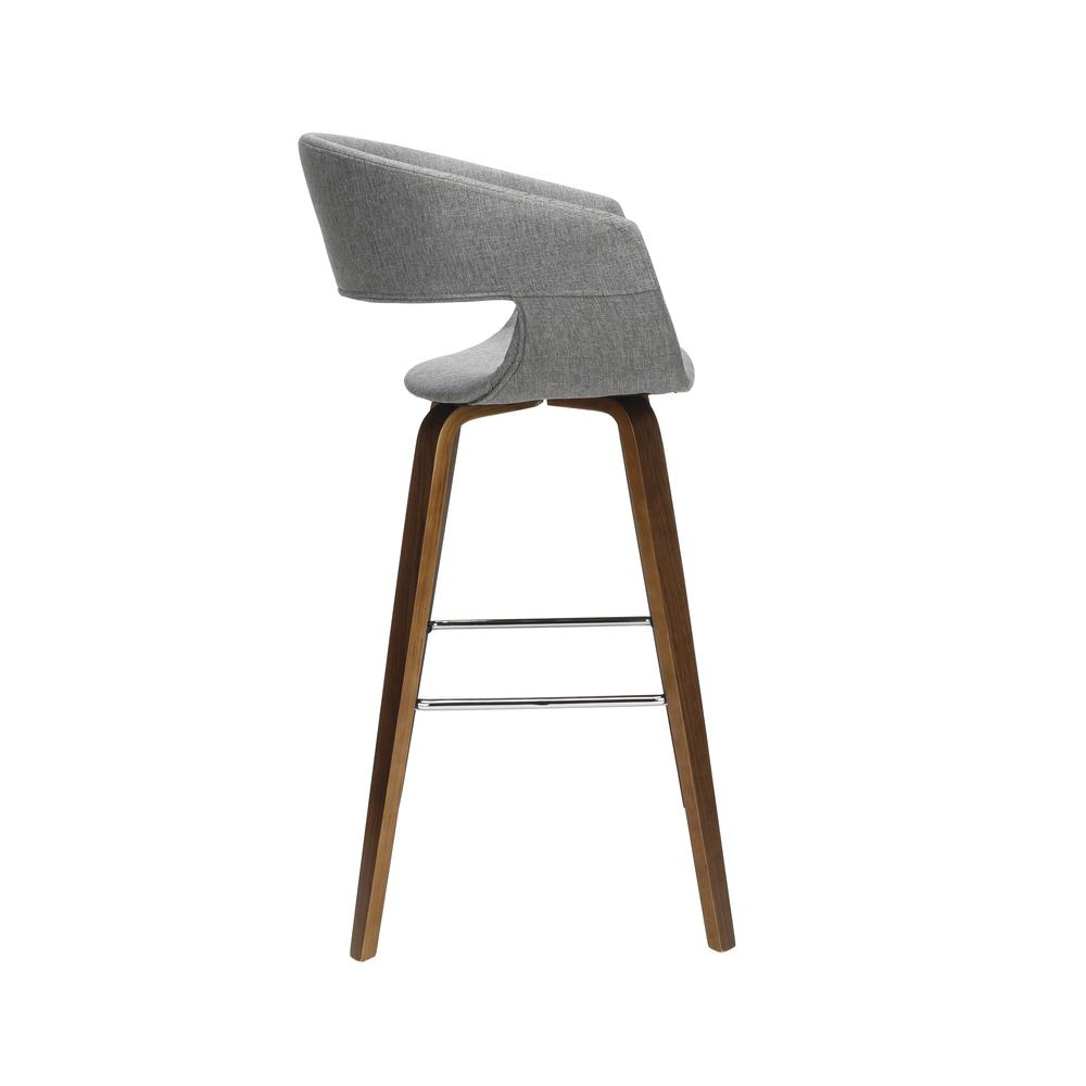 "The OFM 161 Collection Mid Century Modern 26"" Low Back Bentwood Frame Stool, Fabric Upholstery, 2 Pack, in Light Gray, is a graceful stool that provides a retro look for your elevated seating needs.. Picture 4"