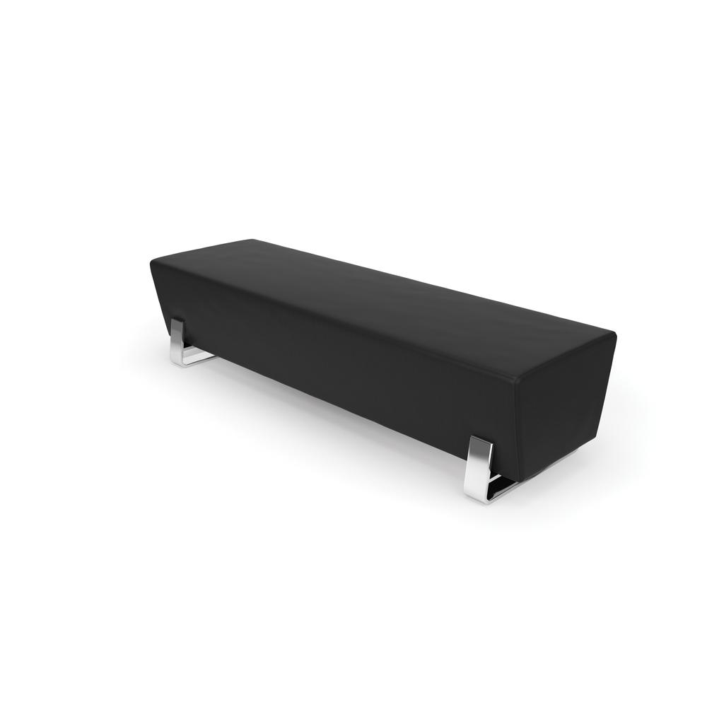 OFM Model 4003C Triple Seating Bench, Textured Vinyl with Chrome Base, Midnight. The main picture.