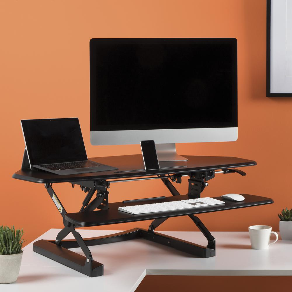OFM Core Collection Adjustable Desktop Riser, Corner Standing L-Shaped Desk Converter, in Black (5100C-BLK). Picture 7