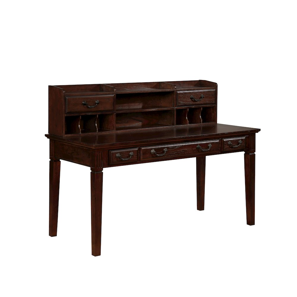 Gavino Transitional Style Writing Desk With Hutch