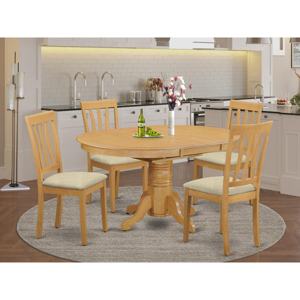 AVAT5-OAK-C 5 PC Dining room set - Kitchen dinette Table and 4 Kitchen Chairs. Picture 2