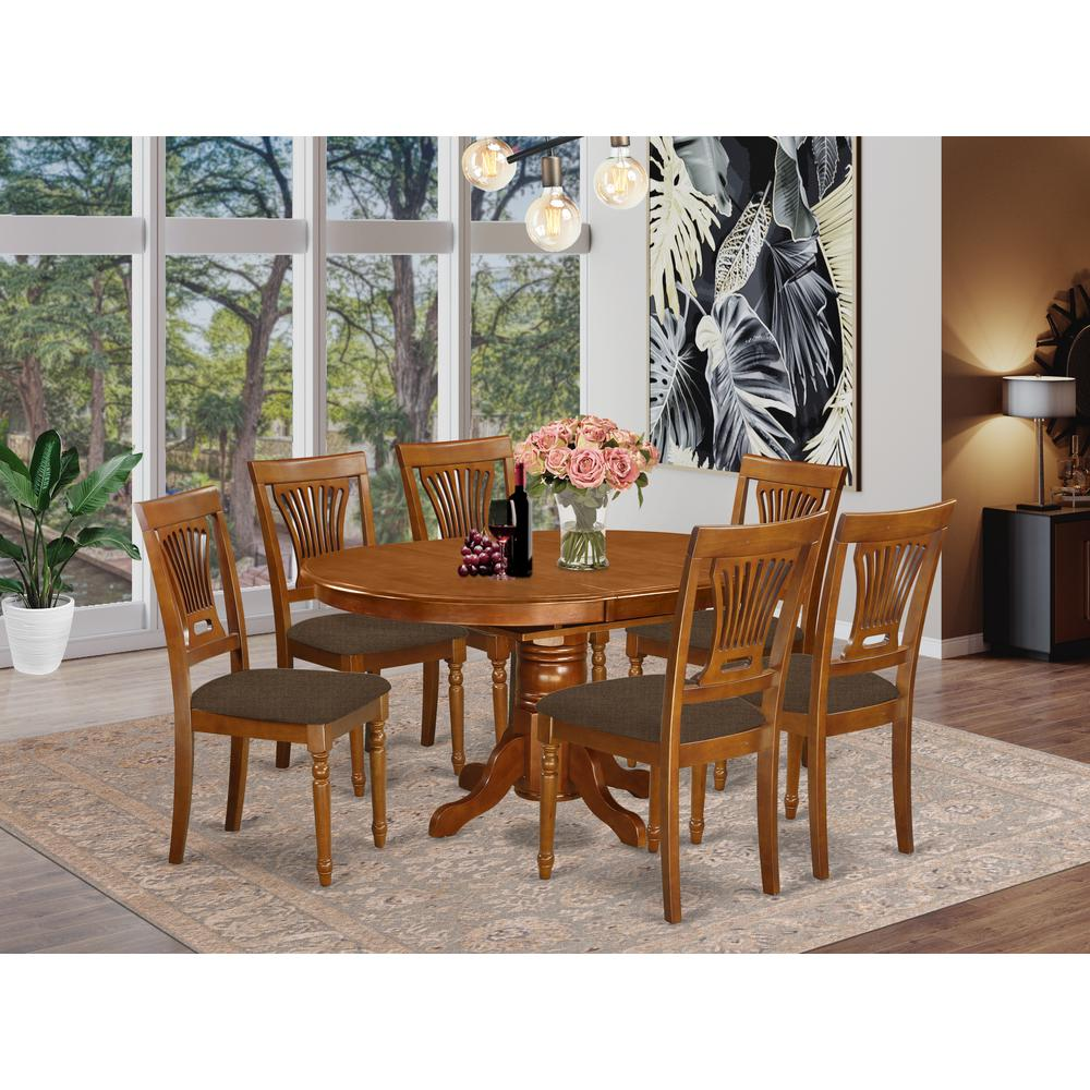 AVPL7-SBR-C 7 PcAvon Dining Table featuring Leaf and 6 Fabric Seat Chairs in Saddle Brown .. Picture 2