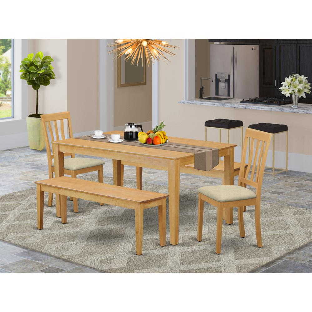 CAAN5C-OAK-C 5 Pc Dining room set for 4 - Table and 2 Dining Chairs plus 2 benches. Picture 2