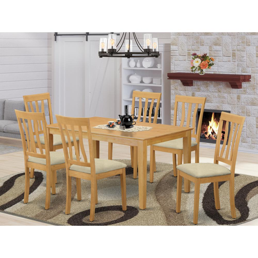 CAAN7-OAK-C 7 PC Dining room set - Small Kitchen Table and 6 Kitchen Dining Chairs. Picture 2