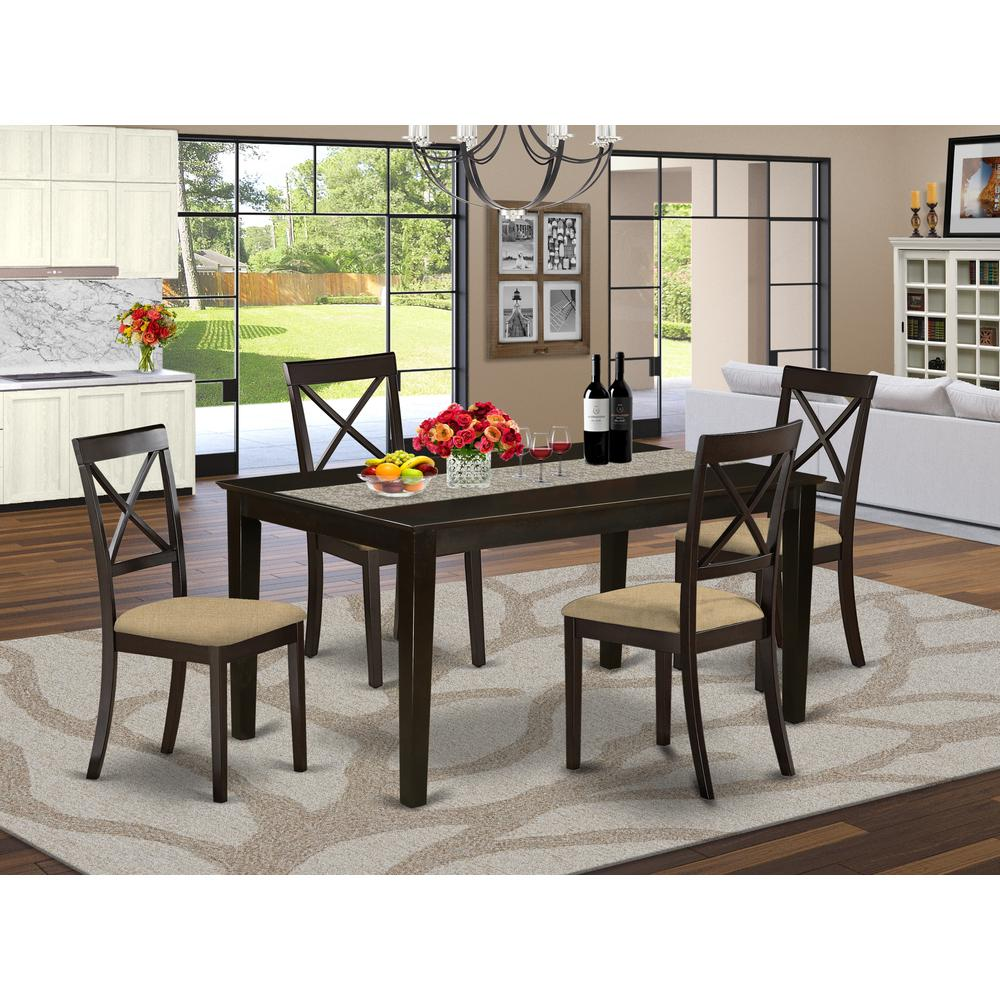 CABO5S-CAP-C 5 PC Dining room set-Top Dining Table and 4 Linen Dining seat Chairs. Picture 2