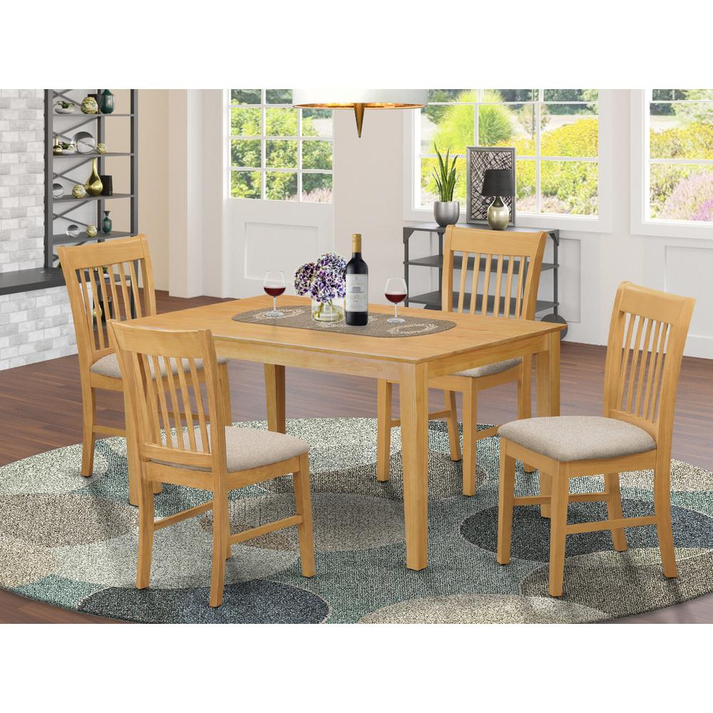 CANO5-OAK-C 5 PC Table set - Dining Table and 4 Dining Chairs. Picture 2