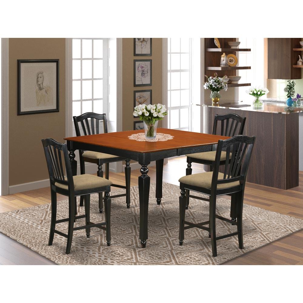 CHEL5-BLK-C 5 Pc counter height set- Square gathering Table and 4 counter height Chairs. Picture 2
