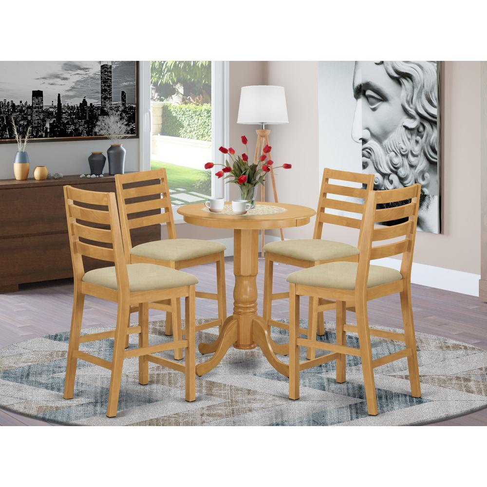 EDCF5-OAK-C 5 Pc Dining counter height set - high top Table and 4 counter height Dining chair.. Picture 2
