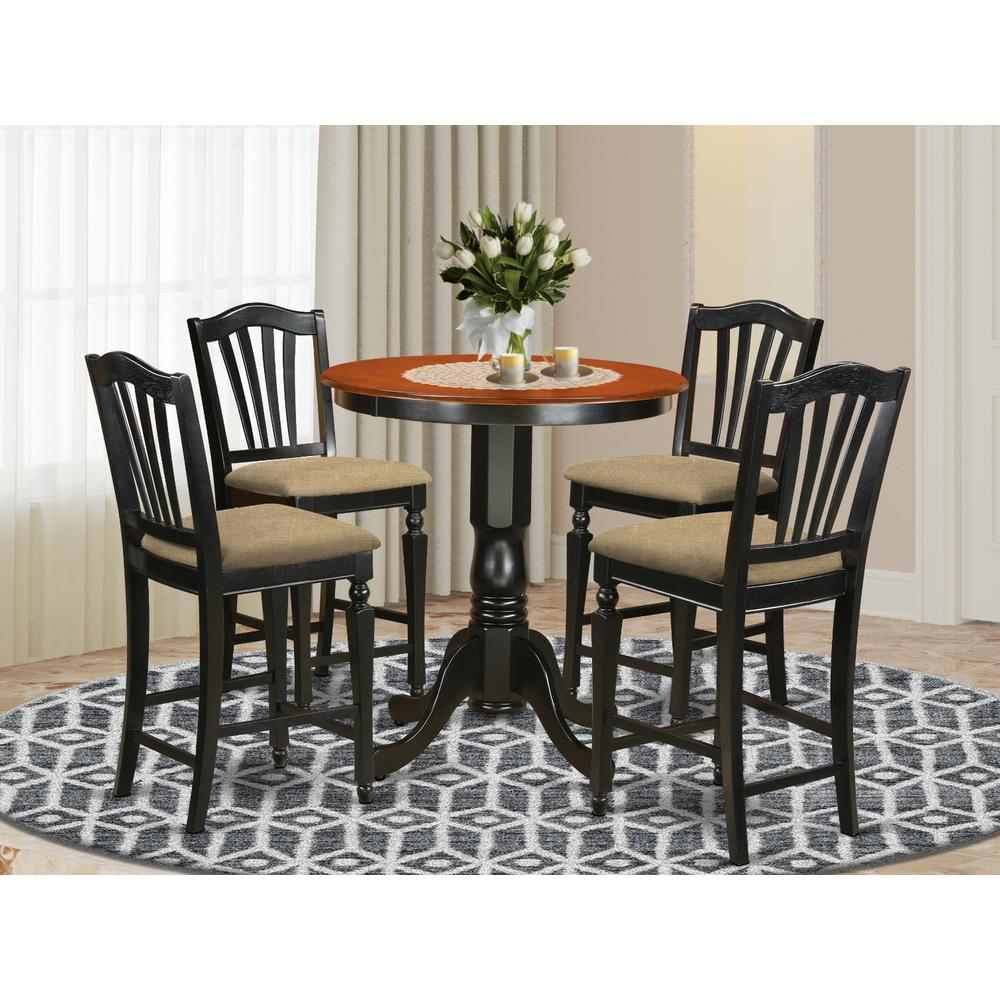 EDCH5-BLK-C 5 Pc counter height set - Kitchen Table and 4 counter height Dining chair.. Picture 2