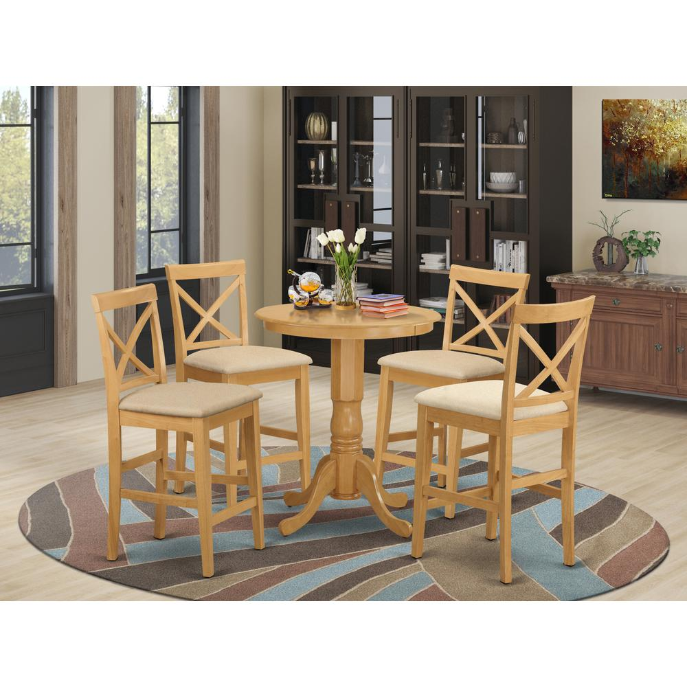 EDPB5-OAK-C 5 PC counter height pub set-pub Table and 4 counter height Chairs. Picture 2