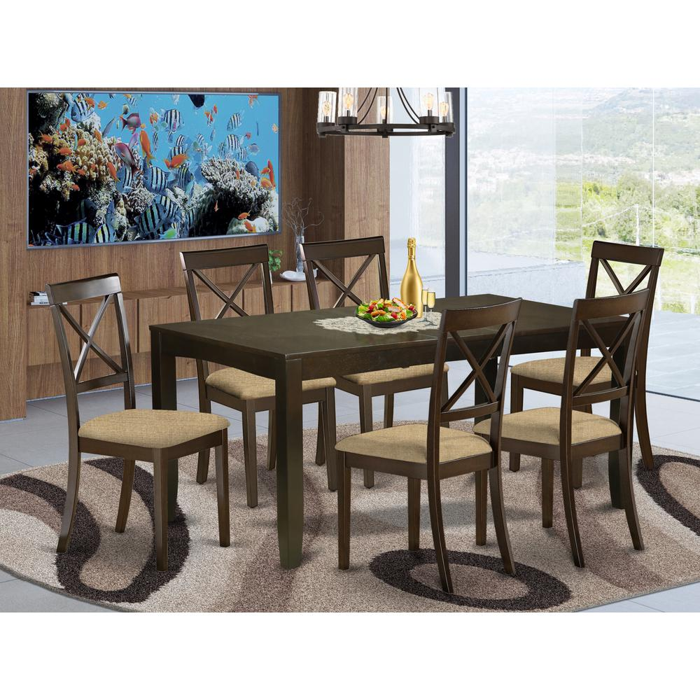 LYBO7-CAP-C 7 PC Dining room set-Kitchen Tables with Leaf Plus 6 Chairs for Dining room. Picture 2