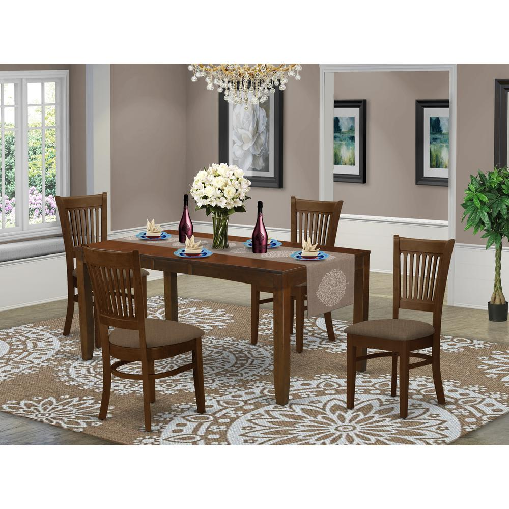 LYVA5-ESP-C 5 Pc set with a 12in Leaf and 4 Cushiad Kitchen Chairs in Espresso .. Picture 2