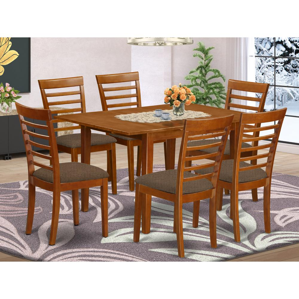 MILA7-SBR-C 7 Pc Kitchen nook Dining set-breakfast nook and 6 Dining Chairs in Brown. Picture 2