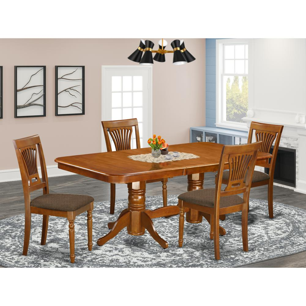 NAPL5-SBR-C 5 Pc Dining room set for 4-Dining Table and 4 Chairs for Dining. Picture 2