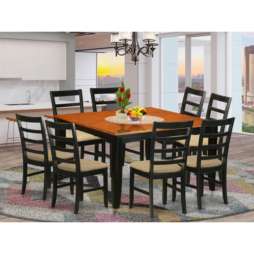 Parf9 Blk C 9 Pc Dining Room Set Square Dining Table With Leaf And 8 Dining Chairs
