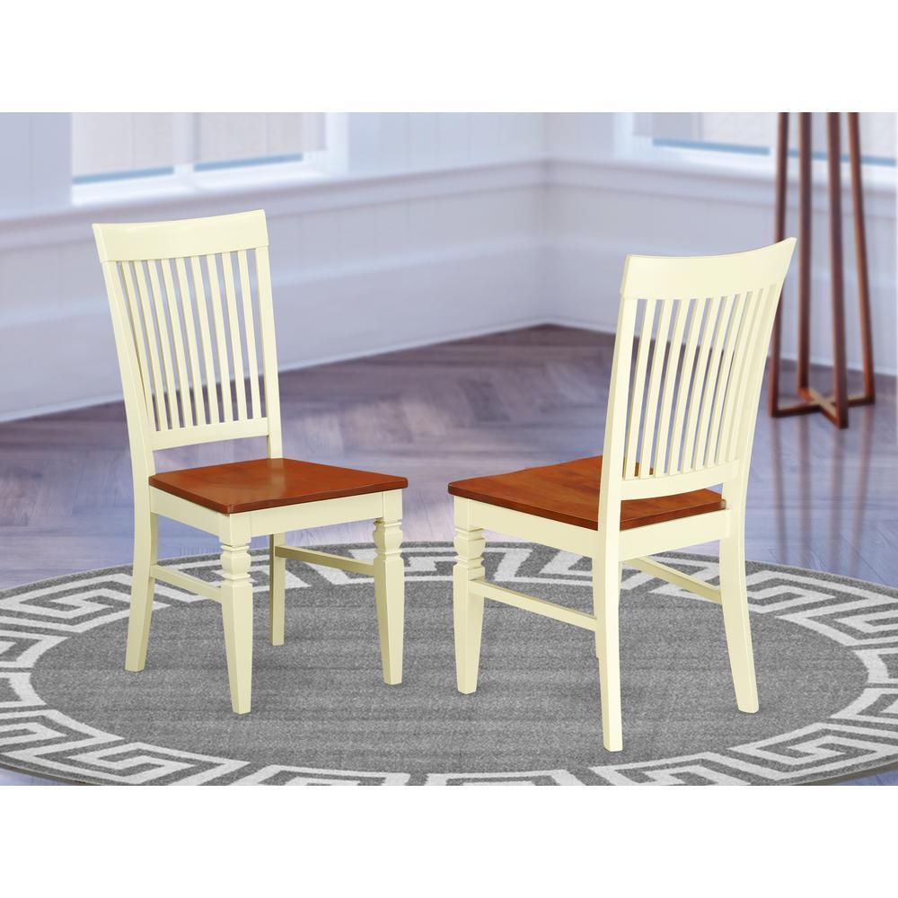 Dining Chair Buttermilk & Cherry, WEC-BMK-W. Picture 2