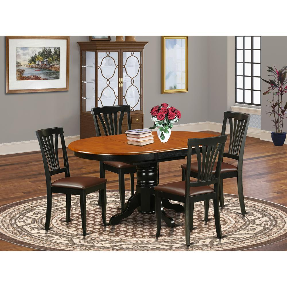 5 Pc Dining room set for 4-Oval dinette Table with Leaf and 4 Dining Chairs