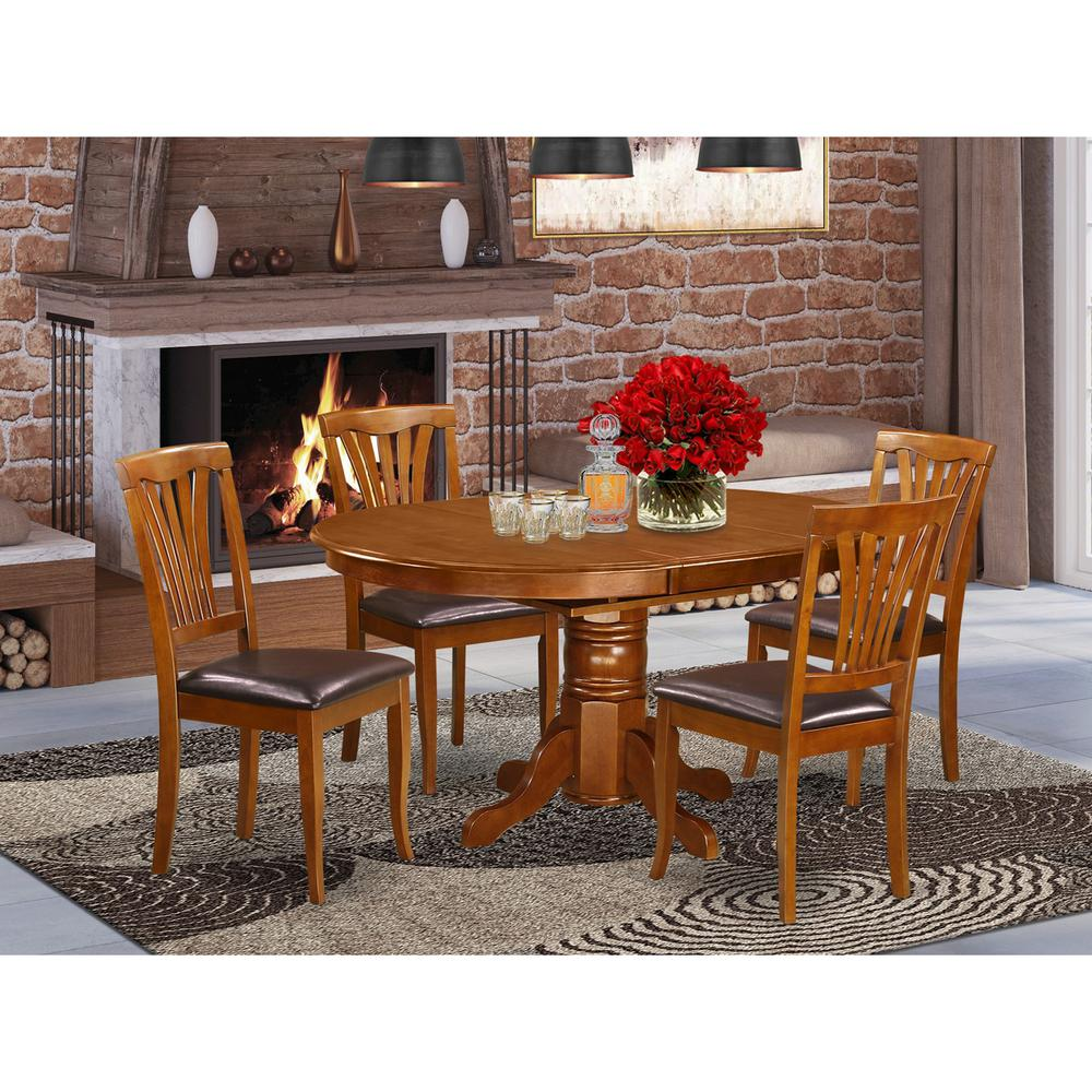 5  Pc  set  Avon  Table  featuring  Leaf  and  4  Leather  Kitchen  Chairs  in  Saddle  Brown. Picture 1