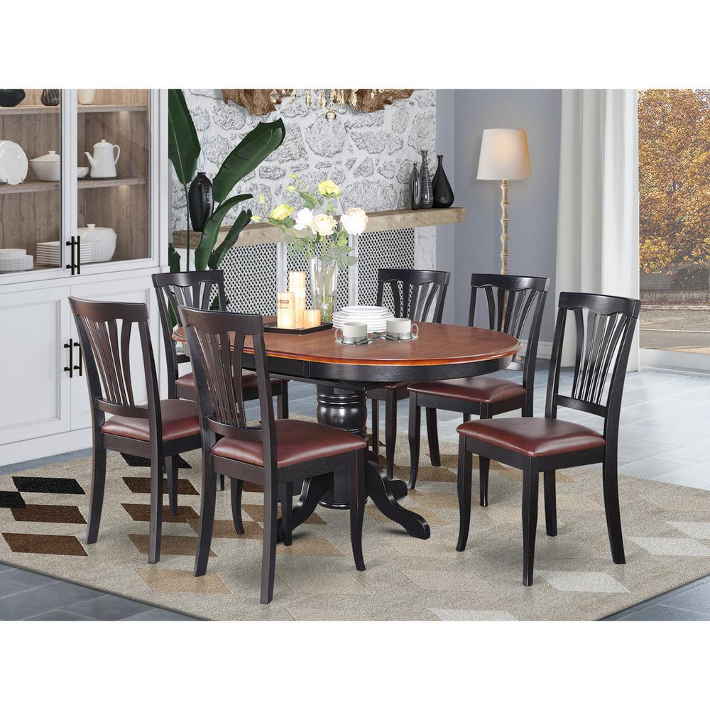 Oval Dining Room Table: 7 Pc Dining Room Set-Oval Table With Leaf And 6 Dining Chairs